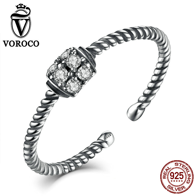 VOROCO Authentic 925 Sterling Silver CZ Stone Ring Twisting Band Finger Open Adjustable Ring Woman & Lady Fine Jewelry VSR025