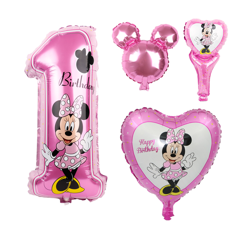 4pcs Mickey mouse birthday foil ballons minnie mouse birthday party decorations kids lovely helium globo pink wedding party toys