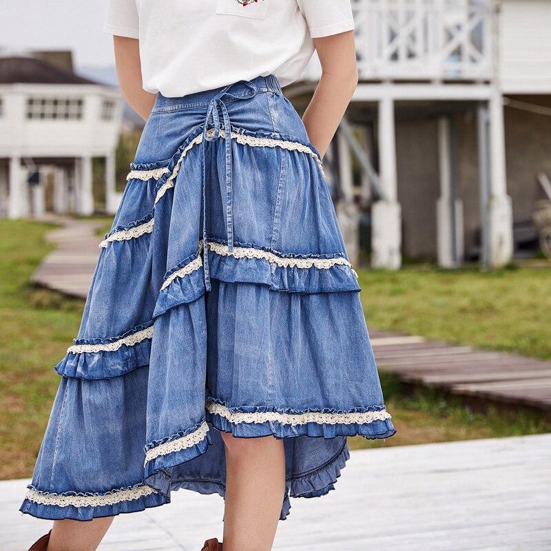ARTKA 2018 Summer New Women 100 Cotton Vintage Big Swing Cake Skirt Lace Washed Denim Drawstring