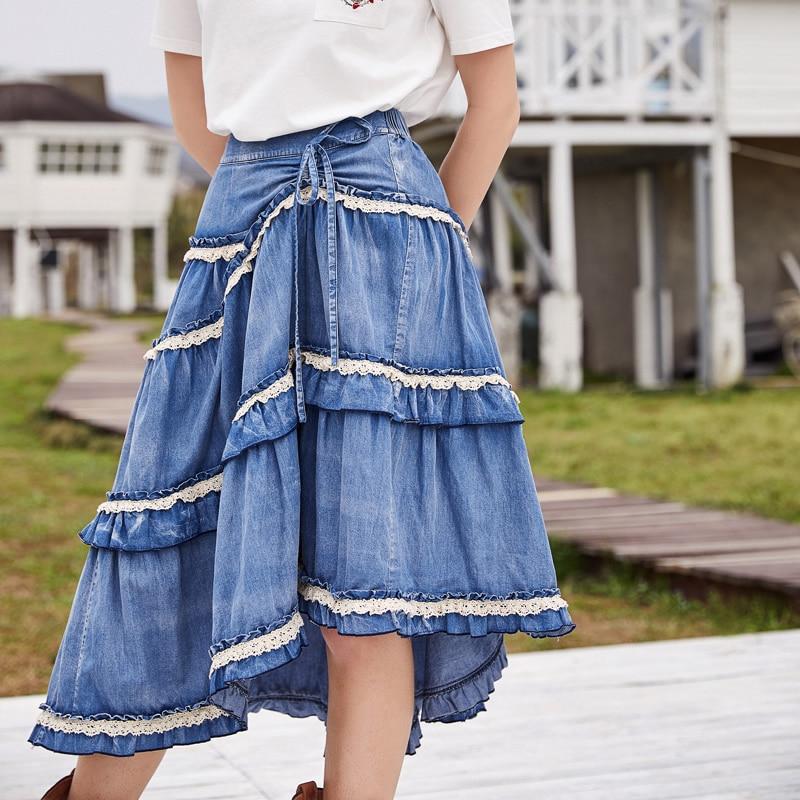 ARTKA 2018 الصيف جديد المرأة 100% القطن خمر كبيرة سوينغ كعكة تنورة الدانتيل غسلها الدنيم الرباط غير النظامية تنحنح تنورة QN10382X-في تنورة من ملابس نسائية على  مجموعة 1