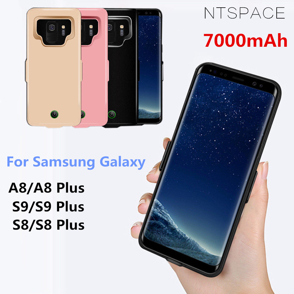 low priced c6764 8b669 For Samsung Galaxy S9 S8 A8 Battery Case 7000mAh Power Bank Charge Cover  for Samsung S9 S8 Plus Ultra Slim Battery Charging Case
