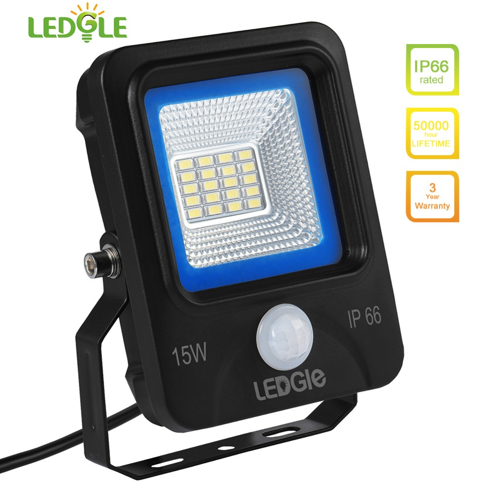 LEDGLE 15W LED Flood Lights Motion Sensor Floodlights LED Wall Washer Equal to 100W Halogen Lamps Daylight White IP66 Waterproof