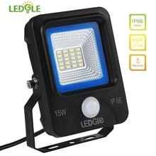 LEDGLE 15W LED Flood Lights Motion Sensor Floodlights LED Wall Washer Equal to 100W Halogen Lamps Daylight White IP66 Waterproof