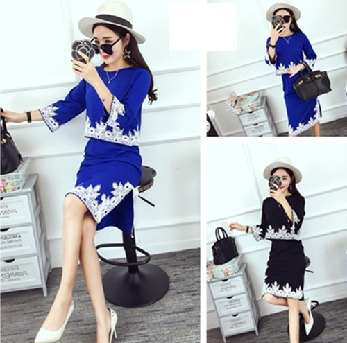 Fashion 2016 spring summer atumn blue black women tops skirts 2 pice sets female suits B0244