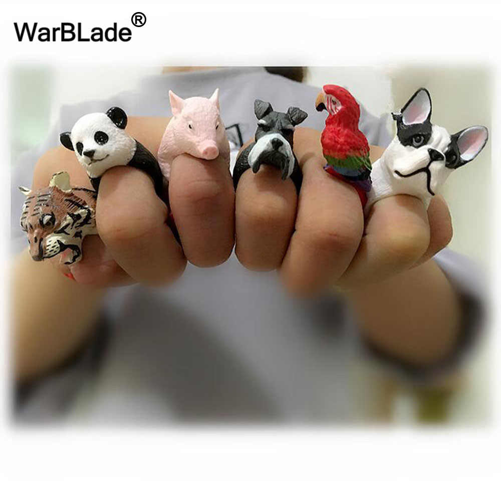 WarBLade Hot Sales Lovely Pink Pig Rings 3D Animal Finger Rings Cute Bulldog Cat Dog Tiger Rabbit Panda Cartoon Rings For Women