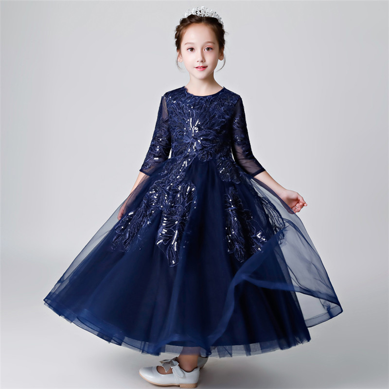 High Grade Children Girls Luxury Evening Party Host Princess Sequined Prom Dress Kids Teens Piano Costume Birthday Long Dress high quality 2018 girls dress children princess dress fluffy yarn girls show caterpillar evening dress birthday host piano