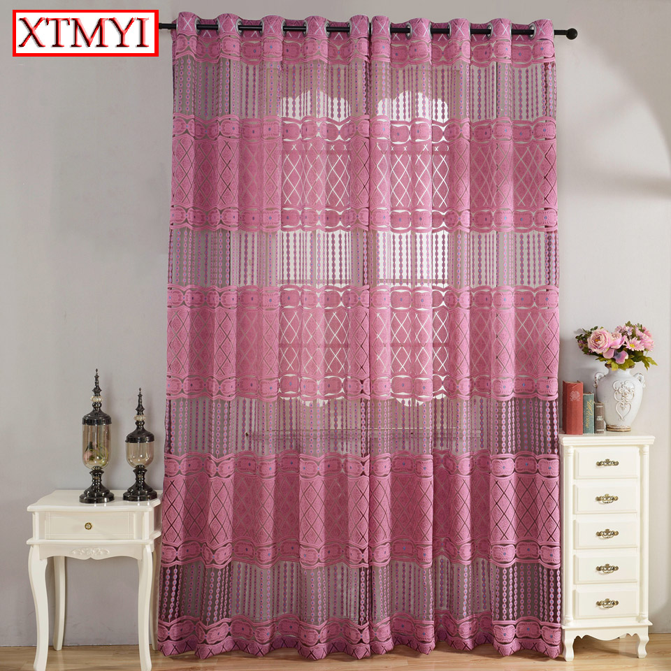 Modern Luxury Window Curtains For Bedroom Living Room Kitchen Pink Brown Hollow Out Curtains Window Blinds Custom Made