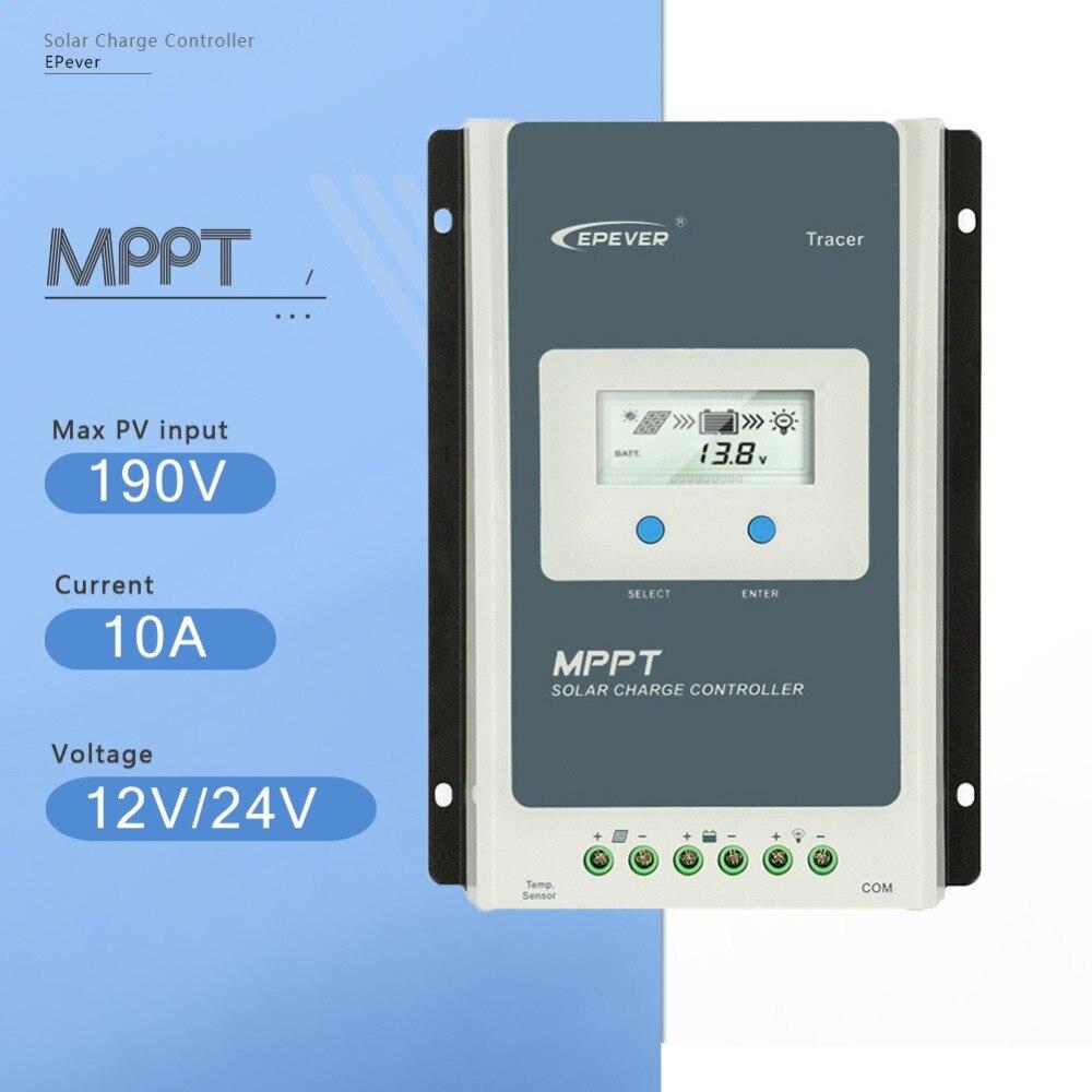 MPPT 10A Traceur 1210AN de Charge Solaire Contrôleur 12 v/24 v Auto Panneau Solaire Charge de La Batterie Système Régulateur avec grand Écran LCD