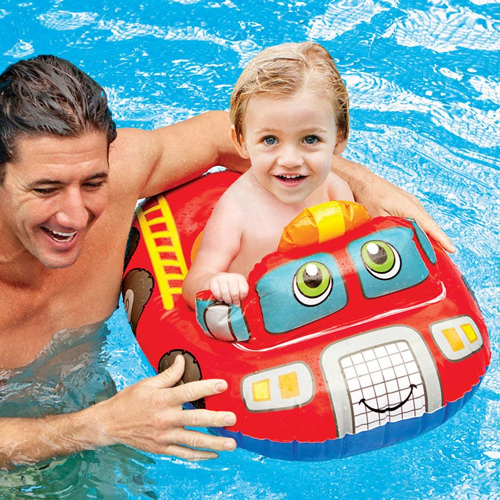 Cute Baby Water Float Thicken PVC Inflatable Circle Seat Float Boat Toy Safety Nflatable Swimming Laps Kids Pool Swimming Ring
