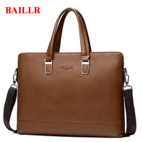 BAILLR Business Men S Briefcase Famous Brand 14 Inches Notebook Computer Bag Casual Travel Handbags Leather