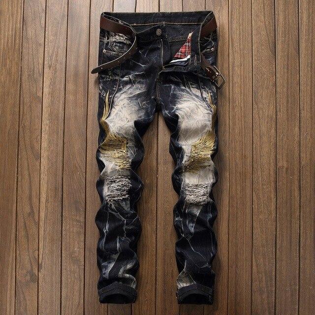 New Bright Broderie Oiseau Aile Jeans Hommes Casual Biker Jeans hommes de Droite  Denim Ripperd Slim 8800e75c18ef