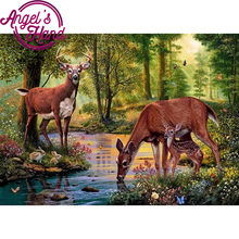5D DIY spuare Diamond mosaic diamond embroidery Deer in the forest drinking water embroidered Cross Stitch Home decoration Gift(China)