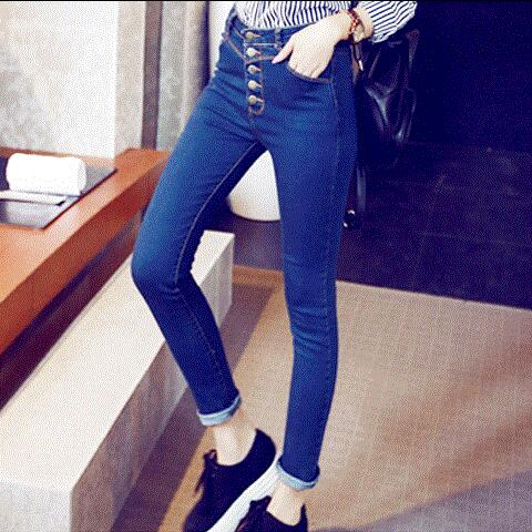 High waist jeans blue 2016 summer Ms Han edition feet pants joker elastic nine points fitted