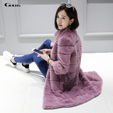 Gours Winter Women's Real Natural Fur Coat Brand Clothing Fashion Girls Real Rex Rabbit Fur Jackets and Coats 2016 New Arrival