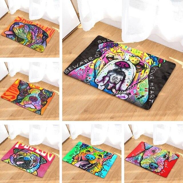 4b3a05dd6e86b Tapis de porte peinture colorée chien imprimé tapis décoration de la maison  carlins tapis de bain