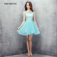 H&S Bridal Above Knee Short Cocktail Party Gowns Blue Tulle Appliques Sweet Girls Graduation Homecoming Dresses