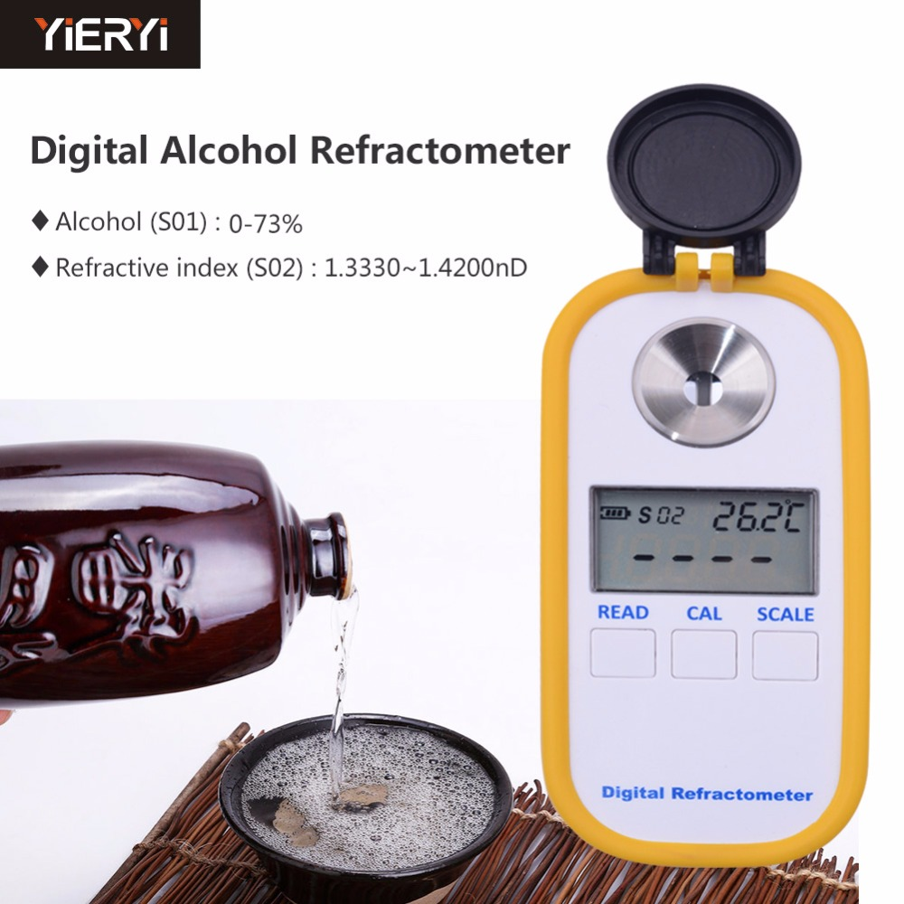 US $135 05 27% OFF|yieryi DR 403 Alcohol 0 73 Refractive Index 1 3330  1 4200 Beer Digital Refractometer Alcohol Tester Beer Tool-in  Refractometers