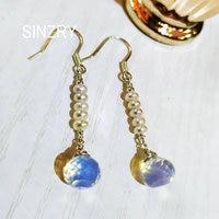 Sinzry original handmade 925 sterling Silver natural moonstone freshwater pearl elegant dangle earrings for female