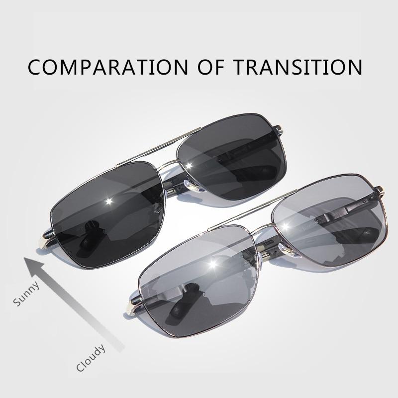 CAPONI Photochromic Men Sunglasses Polarized Classic Brand Square Eye Glasses High Quality Driving Sun Glasses For Male BS8724