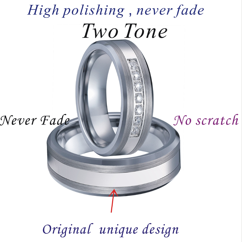 Combined Titanium Tungsten Rings Men's Wedding Band silver color bague anel anillos Couple Engagement Rings for women (5)