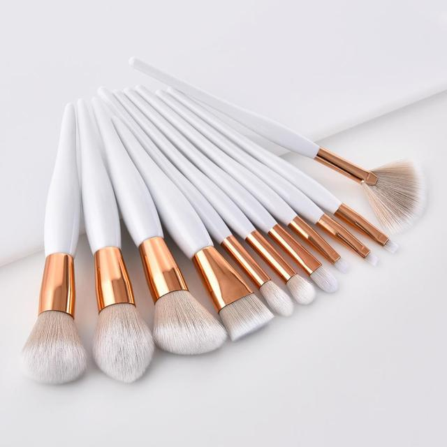 11 Professional White And Gold Single Brushes