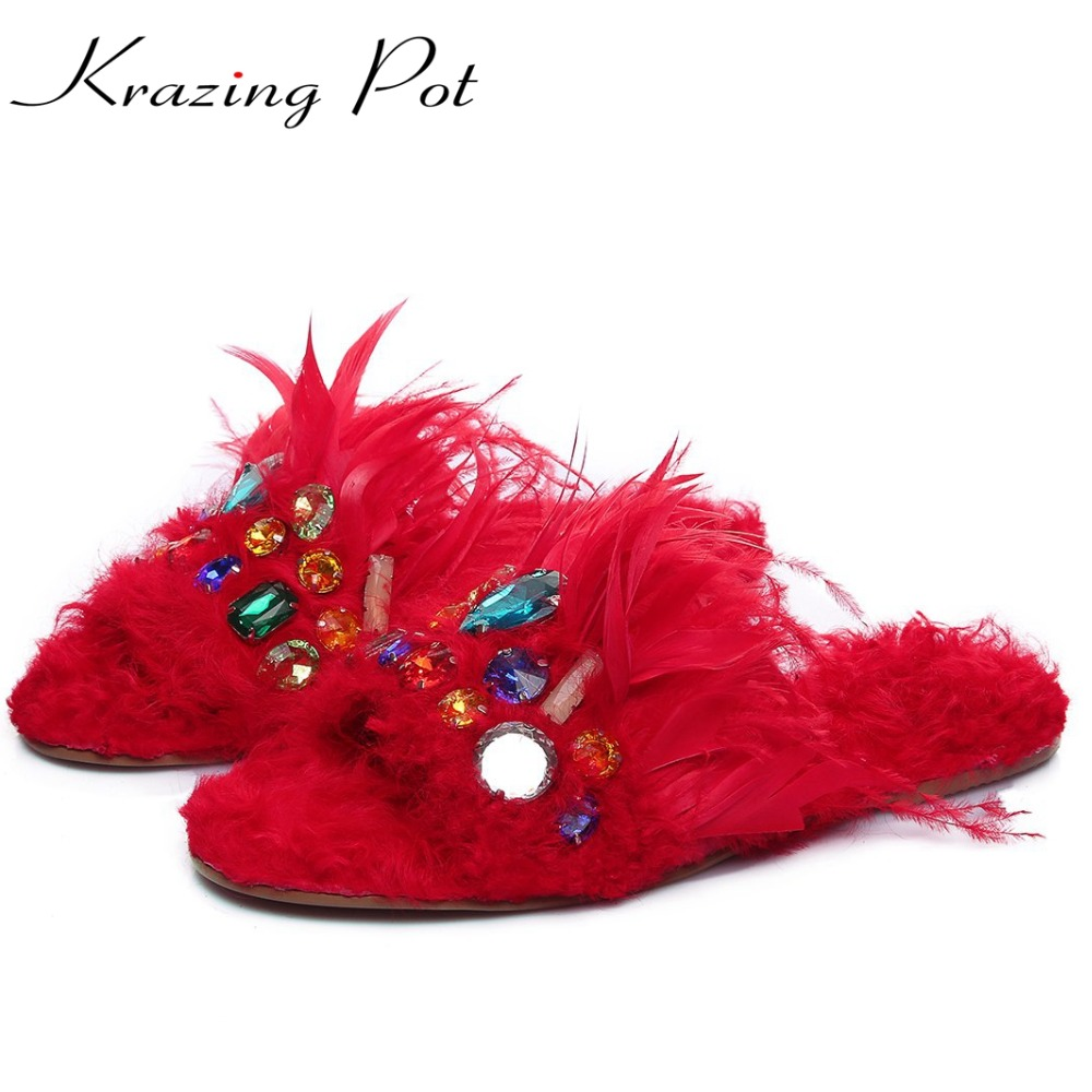 Krazing Pot new sheep fur shoes women hollywood star flats crystal peep toe sandals sexy causal warm winter outside slippers L51 krazing pot empty after shallow shoes woman lace work flats pointed toe slip on sheep suede causal summer outside slippers l16