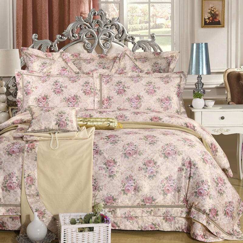 garden style flowers pattern bedding collection sets wedding linens silk satin cotton jacquard queenking size bed in bag