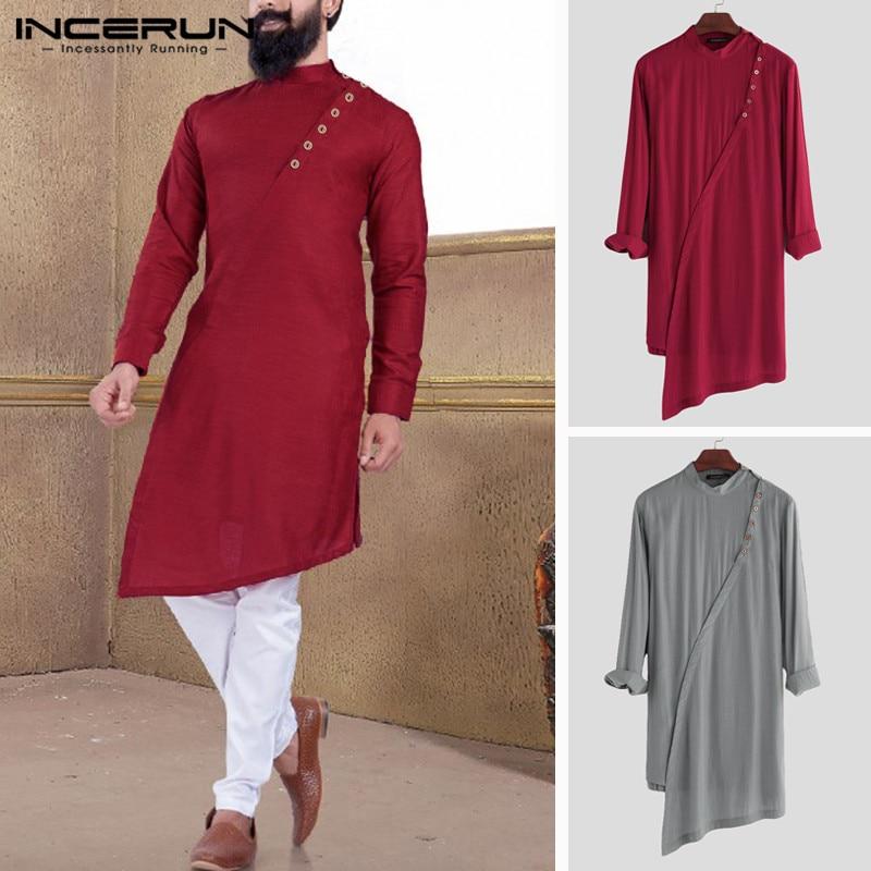 INCERUN Indian Kurta Suit Men Long Shirt Solid Retro Long Sleeve Stand Collar Button Tops Muslim Pakistan Irregular Shirts 2019
