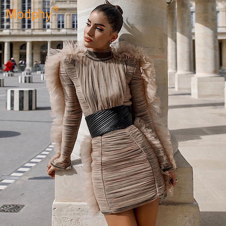 2019 new shelves women's winter celebrity runway party dress sexy lace long sleeve mini luxury club dress Bodycon Vestidos