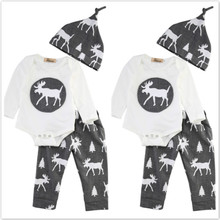 Spring Winter Baby Clothing Sets Baby Boy Girl Christmas Tree Reindeer Tops Romper+Pants Bottoms Hat Outfits Set roupa infantil