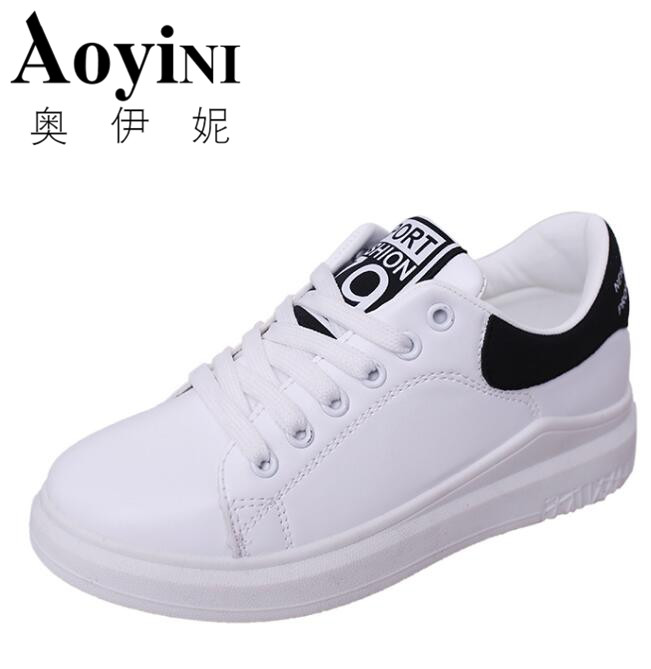 2017 Spring Summer Breathable Fashion White Shoes Woman Footwear Flats Pu Slip on Casual Shoes Women Hot Sale