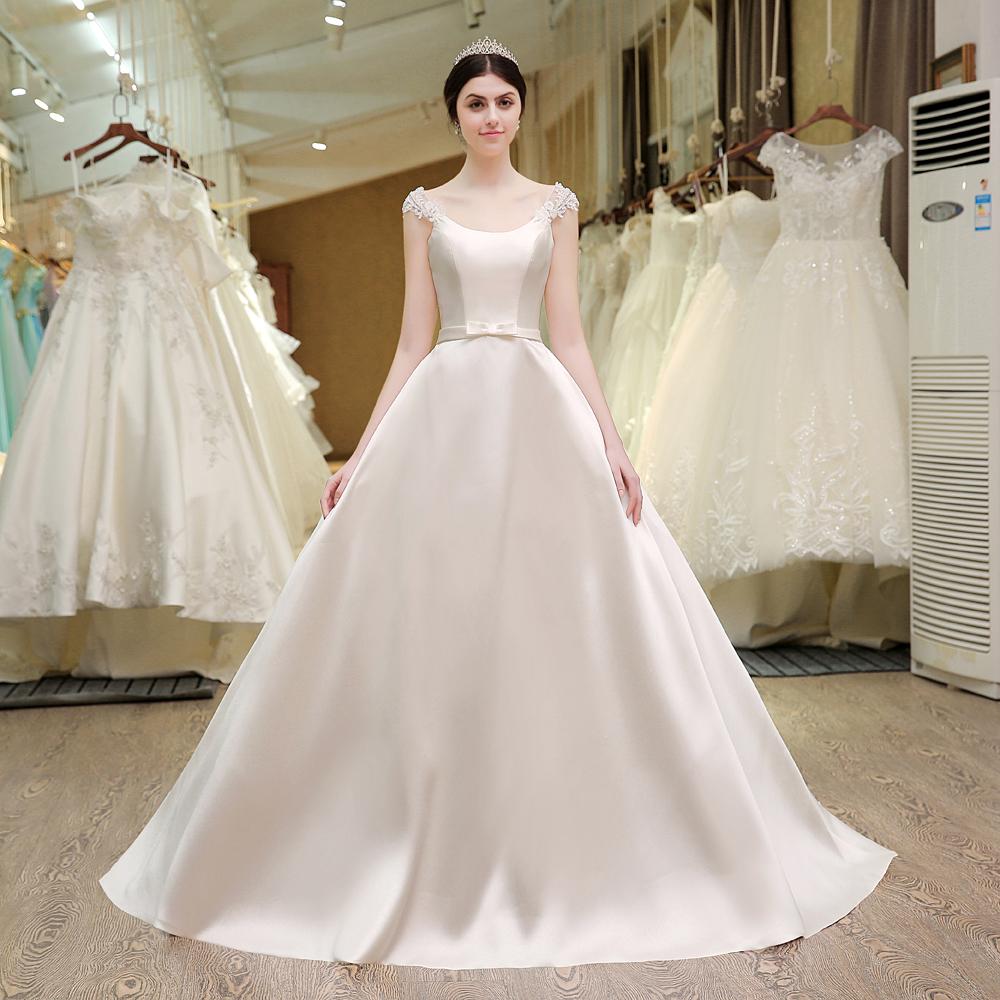 Vintage Romantic Princess Pearls Satin Wedding Dress