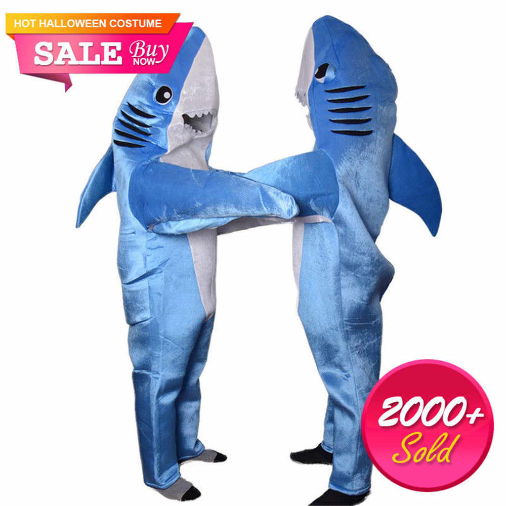 8b59afae Blue Shark Costume Animal Cosplay Adult Jumpsuits Mascot Unisex Cute  Costumes Fancy Dress Halloween Christmas Carnival Props