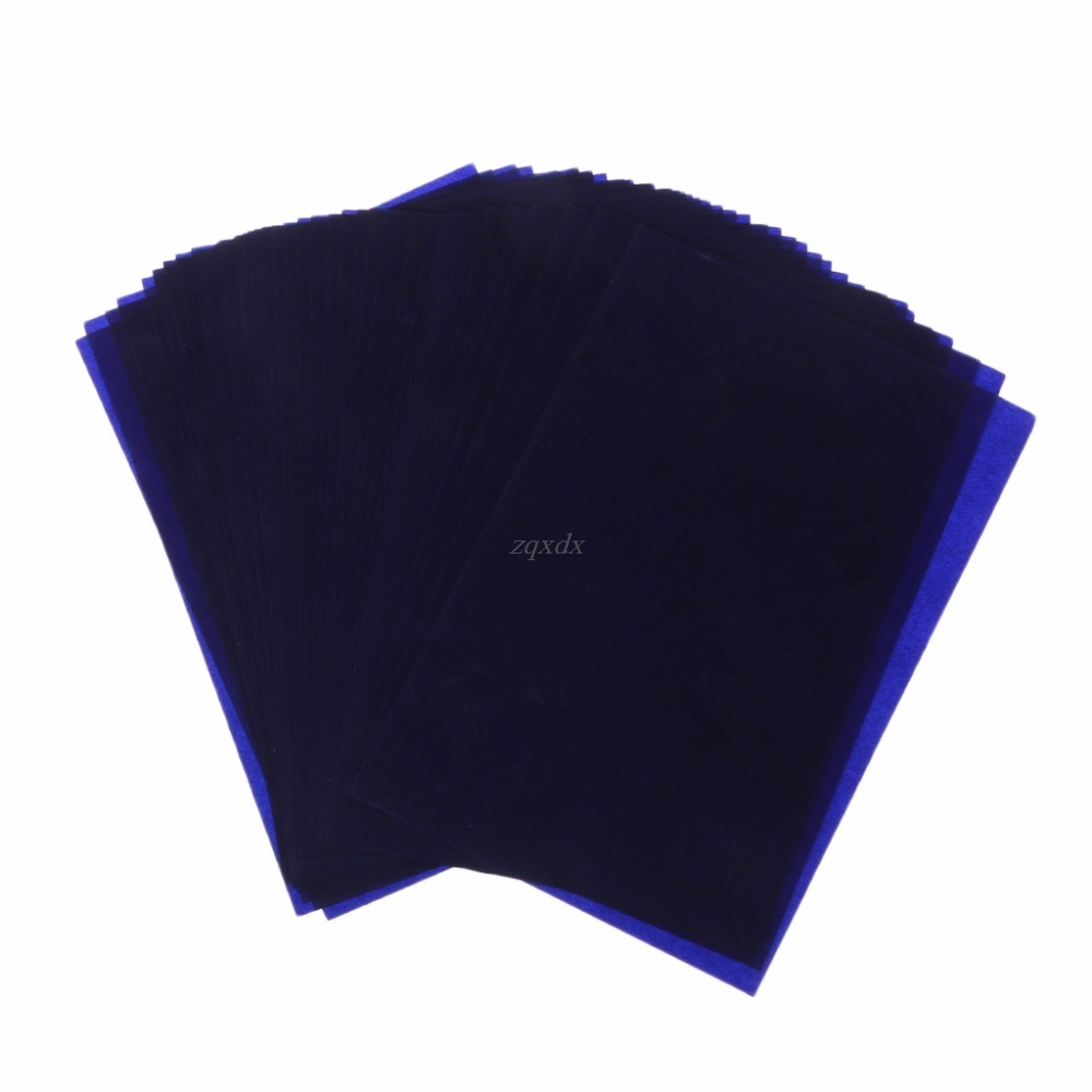 50 Sheets Dark Blue 18K Thin Type Double Sided Carbon Copier Stencil Transfer Paper School Office Stationery Supplies Drop Ship
