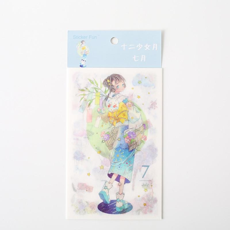 Kawaii Милая наклейка для девочки в стиле декабрина и ветра, декоративная наклейка для ноутбука, декоративная наклейка для рисования, канцелярские товары - Цвет: 7