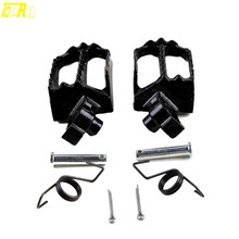 TDPRO Steel Folding Foot Pegs Footrest Pedal Black New Motorcycle Footpeg Rests For Yamaha PW TW Series Dirt Bike Motocorss