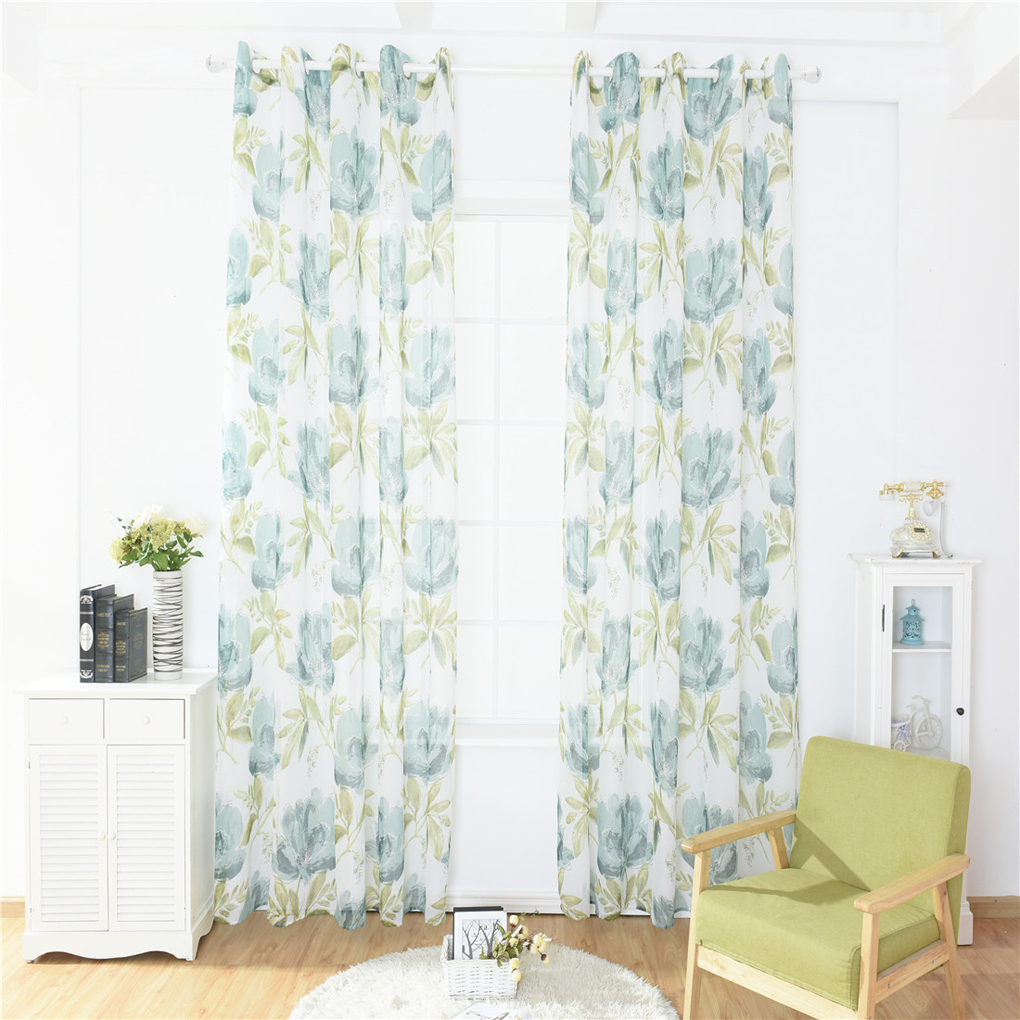 Peony Window Screening Curtain Translucent Floral Print Door Room Divider Sheer Flower Window Drapes 100*200/100*250