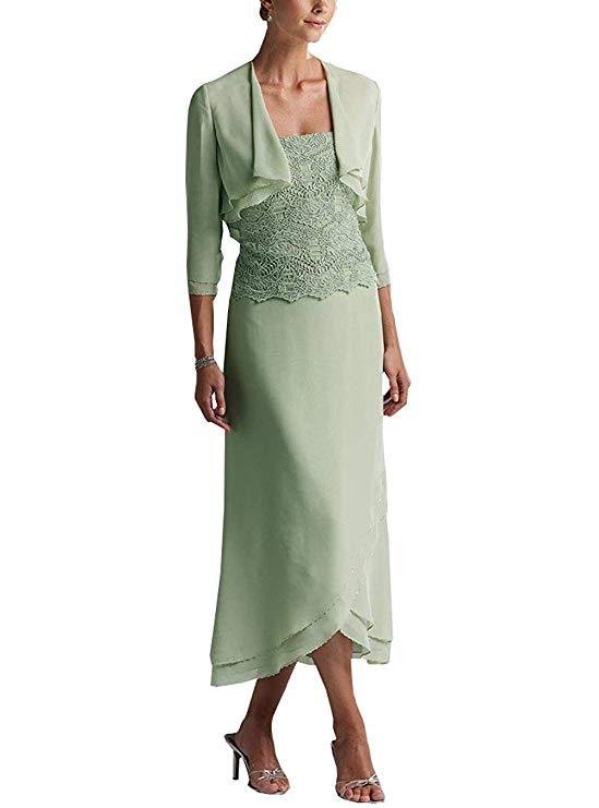 Two Piece Tail Beaded Mother of The Bride Dresses 2019 Tea Legth Formal Dress Chiffon Moeder Van De Bruid in Mother of the Bride Dresses from Weddings Events