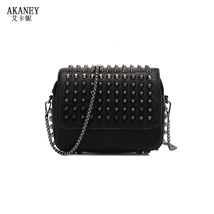 20x14CM The New Chain Bag Rivets Female Bags Messenger Bags Small Shoulder Bag Mini Flap A2729
