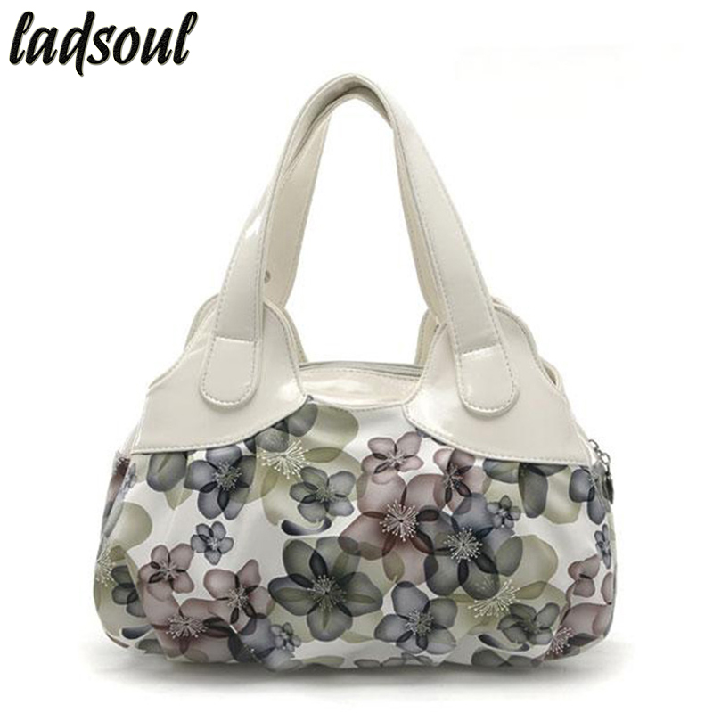 LADSOUL 2018 Fashion Flowers Printing Women Handbag Floral Women Messenger Bags Elegant Women Bag Female Tote Bolsas Sh462/g