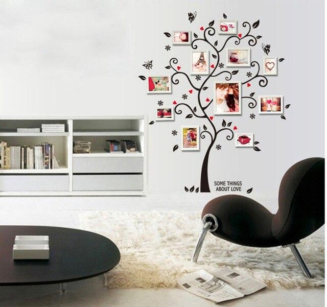 Noir Famille Arbre Cadre Photo Stickers Muraux Dortoir Bureau Salle