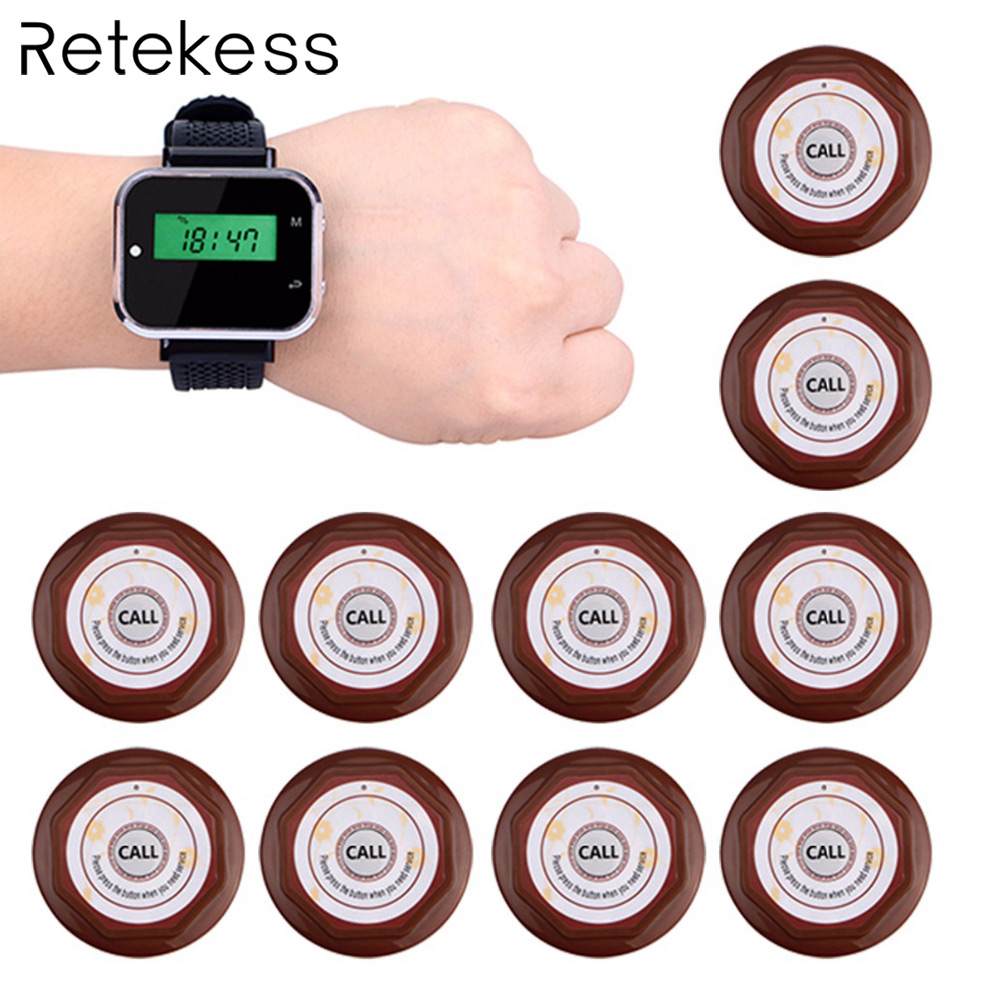 Restaurant Calling System Wireless Waiter Call Pager 1pcs Watch Receiver 10 pcs Call Transmitter Button F3300