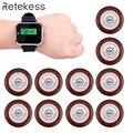 Restaurante llamado sistema de llamada camarero busca 1 piezas reloj RECEPTOR + 10 piezas llamada transmisor botón F3300