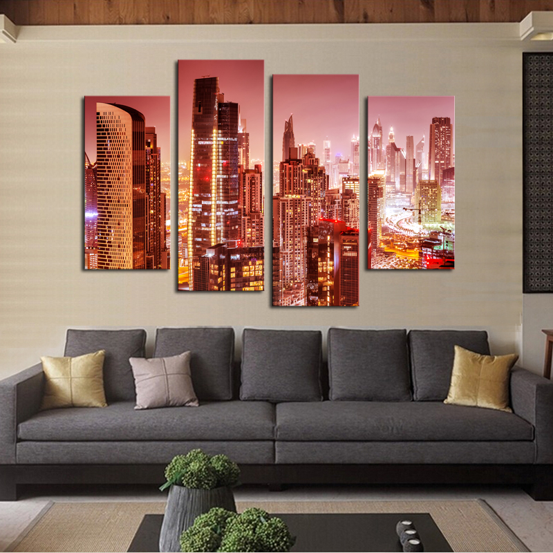 Luxry Unframed 4 Panel The Pretty City Night Large HD Picture Decorative Art Print Painting On Canvas For Living Room Wall Decor