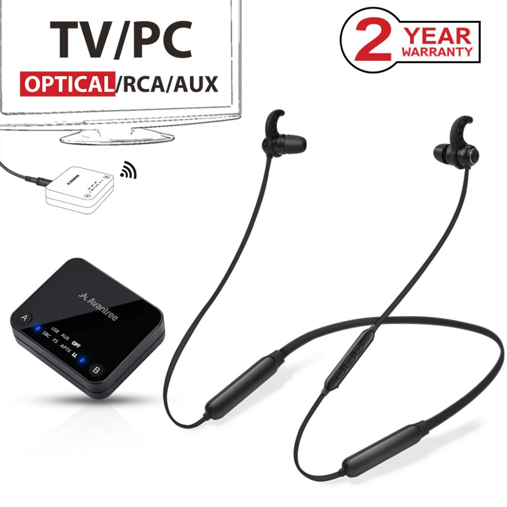 New arrival Bluetooth transmitter dual link Wireless In ear Headphones Transmitter Set for TV Watching No