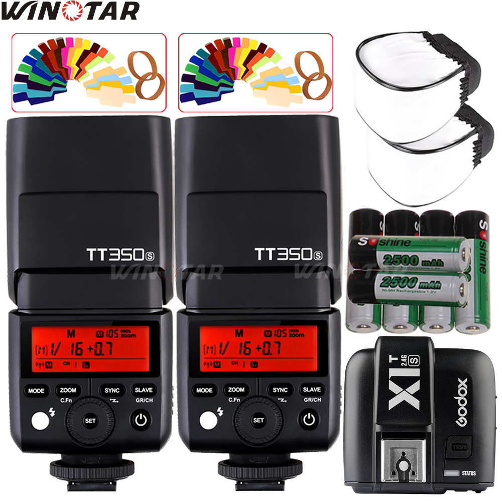 2X Godox TT350S Mini Speedlite Flash TTL HSS + X1T-S Trigger+ 6x 2500mAh Battery for Sony A77II A7RII A7R A7000 A6500 A6300 A99 godox v860iic v860iin v860iis x1t c x1t n x1t s hss 1 8000s gn60 ttl flash speedlite 2 4g transmission godox softbox filter