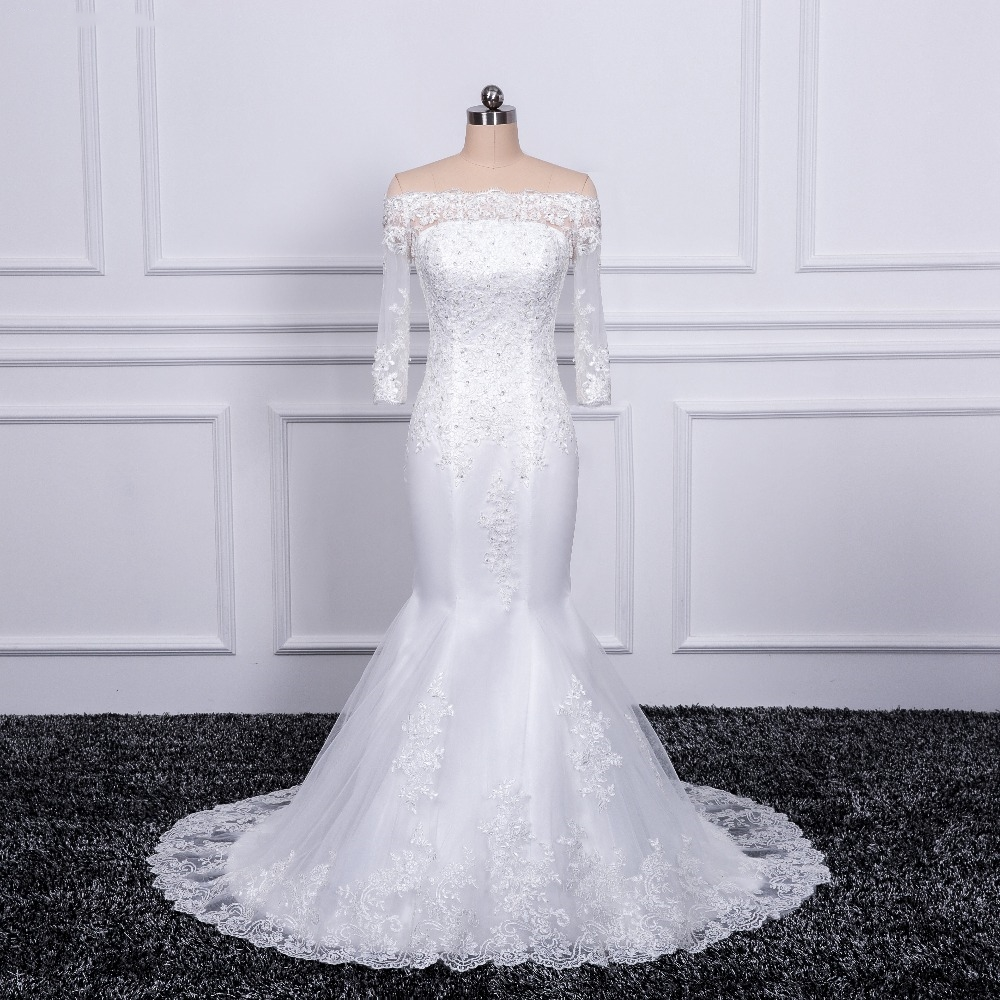 Off The Shoulder Mermaid Wedding Dress Long Sleeve Emboridry With Beading Court Train White Color Vintage Wedding Gown