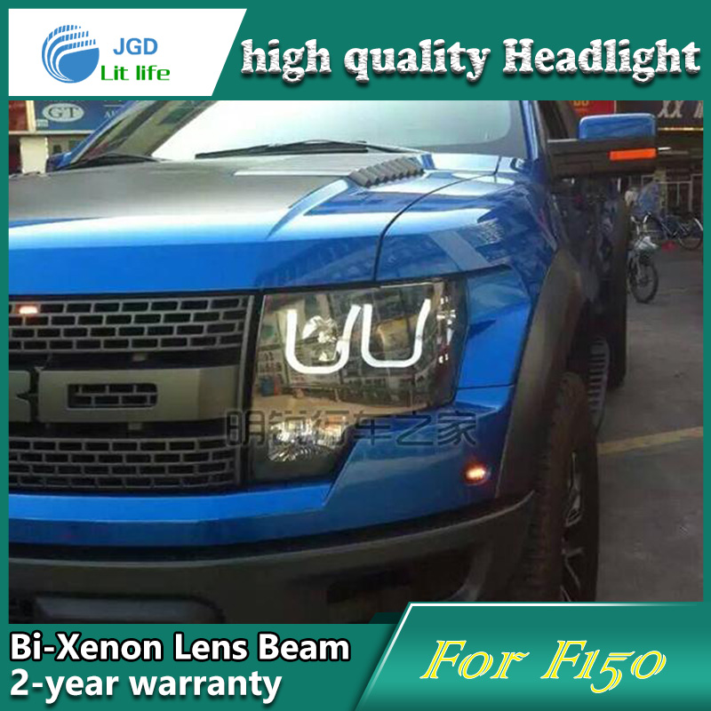 Car Styling Head Lamp case for Ford Raptor F150 Headlights LED Headlight DRL Lens Double Beam Bi-Xenon HID car Accessories car styling head lamp case for ford ecosport 2013 headlights led headlight drl lens double beam bi xenon hid car accessories