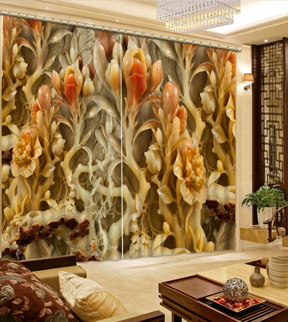 Luxury Blackout Curtains Customize 3d European Wood Carving For Living Room Kitchen