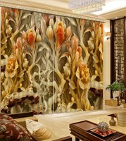 luxury blackout curtains customize 3d curtains European wood carving curtains for living room kitchen curtains